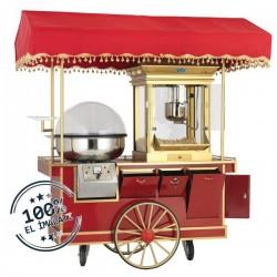 Aparat/ Masina popcorn + aparat vata pe bat, cu carucior si copertina, 1650x900x1900 mm