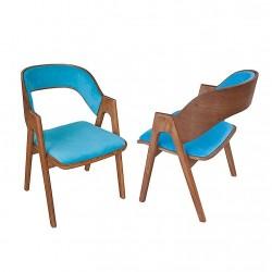 Scaun din lemn cu spatar lemn tapitat
