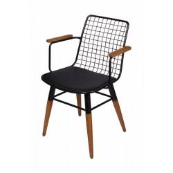 Scaun din sarma otelita cu picioare din lemn si manere