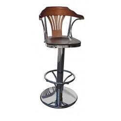 Scaun de bar din lemn cu picioare din otel inoxidabil