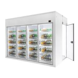 Camera frigorifica cu vitrina 4 usi si spatiu depozitare walk-in/ 7,5 m³